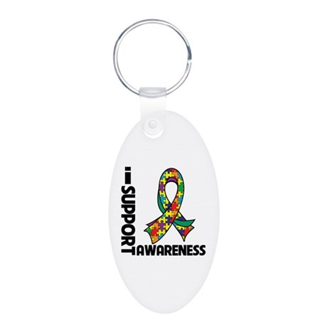 I Support Autism Awareness Aluminum Oval Keychain