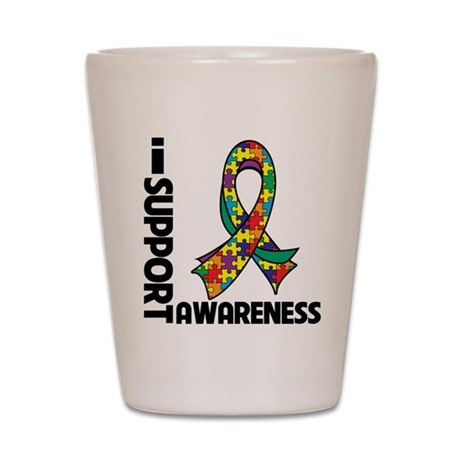 I Support Autism Awareness Shot Glass