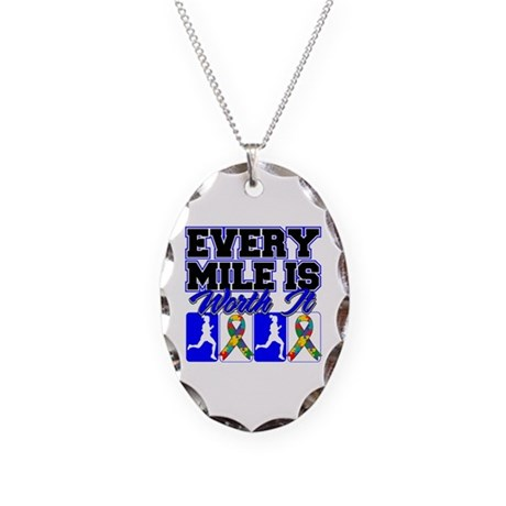 Autism Every Mile Is Worth It Necklace Oval Charm