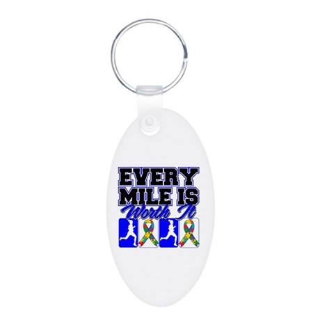 Autism Every Mile Is Worth It Aluminum Oval Keycha