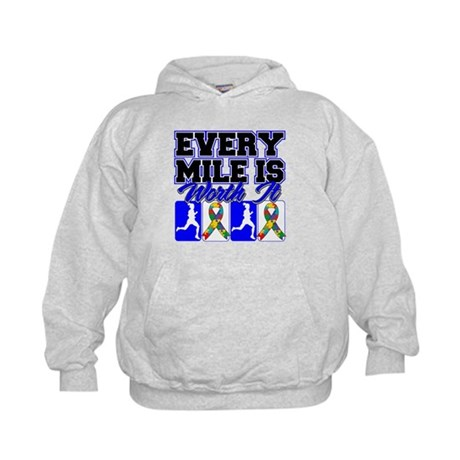Autism Every Mile Is Worth It Kids Hoodie