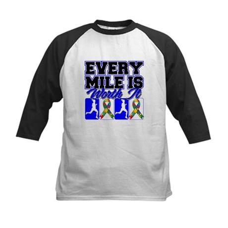 Autism Every Mile Is Worth It Kids Baseball Jersey