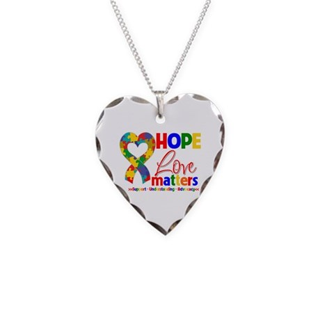 Hope Love Matters Autism Necklace Heart Charm