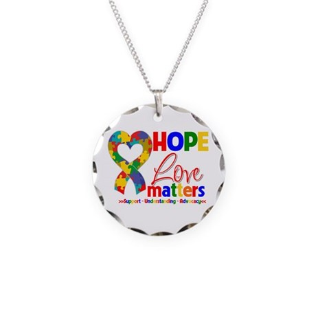 Hope Love Matters Autism Necklace Circle Charm