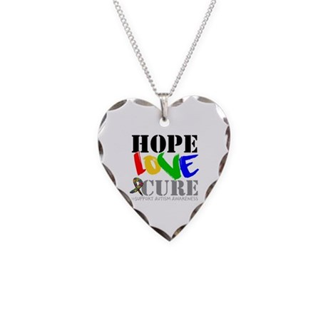 Hope Love Cure Autism Necklace Heart Charm