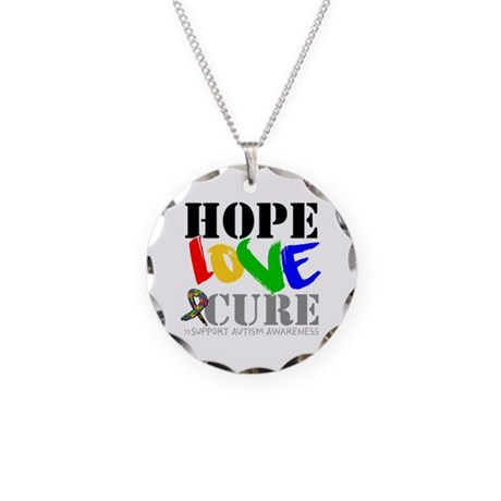 Hope Love Cure Autism Necklace Circle Charm