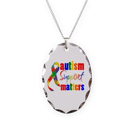 Autism Support Matters Necklace Oval Charm