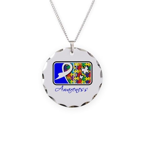 Autism Awareness Tile Necklace Circle Charm