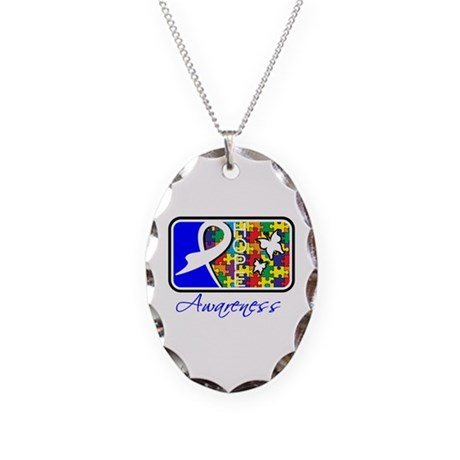 Autism Awareness Tile Necklace Oval Charm