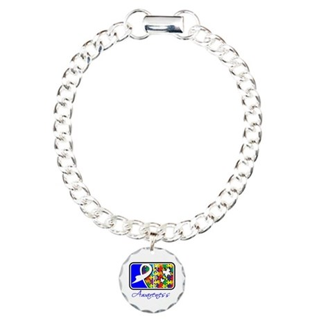 Autism Awareness Tile Charm Bracelet, One Charm