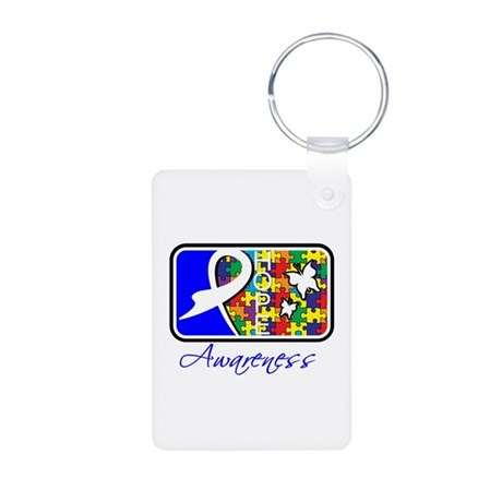 Autism Awareness Tile Aluminum Photo Keychain