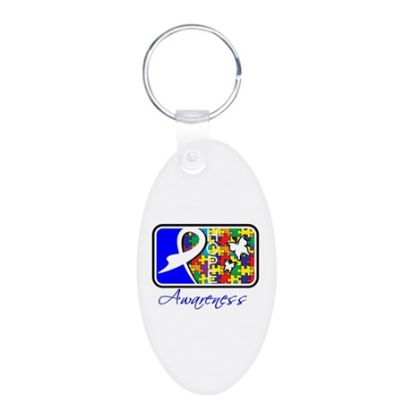 Autism Awareness Tile Aluminum Oval Keychain
