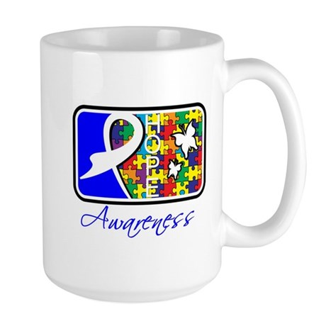 Autism Awareness Tile Large Mug