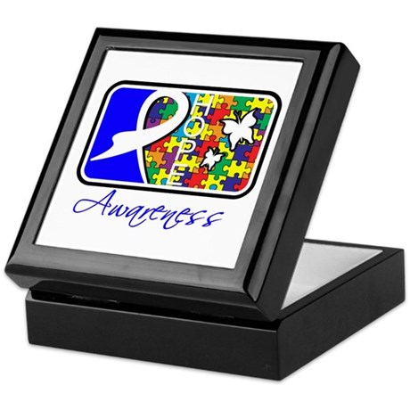 Autism Awareness Tile Keepsake Box