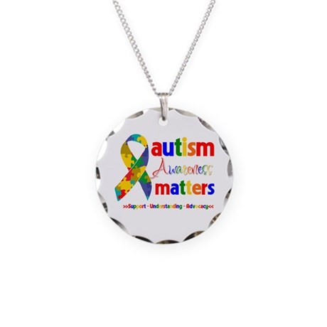 Autism Awareness Matters Necklace Circle Charm
