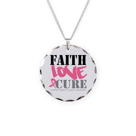 Faith Love Cure Breast Cancer Necklace Circle Char