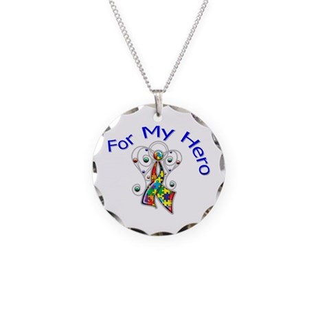 Autism For My Hero Necklace Circle Charm