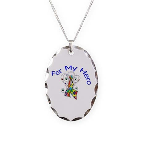 Autism For My Hero Necklace Oval Charm