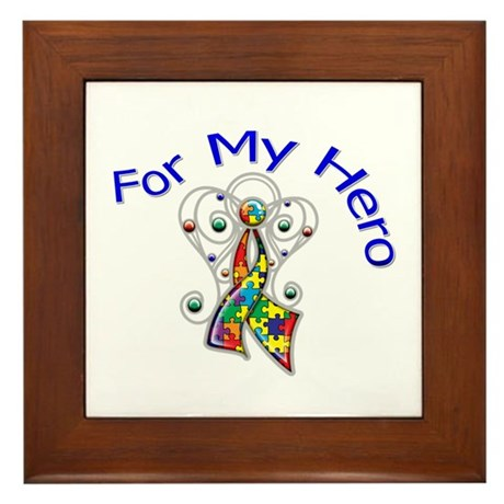 Autism For My Hero Framed Tile