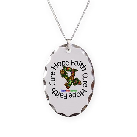 Autism Flower Hope Necklace Oval Charm