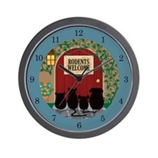 Rodents Welcome Wall Clock (teal)