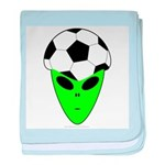 ALIEN SOCCER HEAD baby blanket