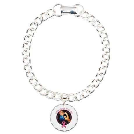 BreastCancer WeCanDoIt Charm Bracelet, One Charm