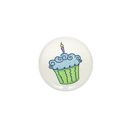Cute Cupcake (blue) Mini Button