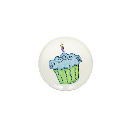 Cute Cupcake (blue) Mini Button