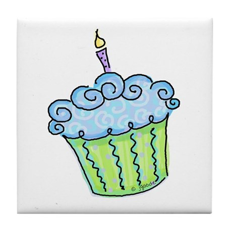 Cute Cupcake (blue) Tile Coaster
