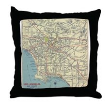 1939 Los Angeles Map Throw Pillow