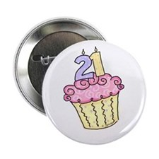 21st Birthday Cupcake Button