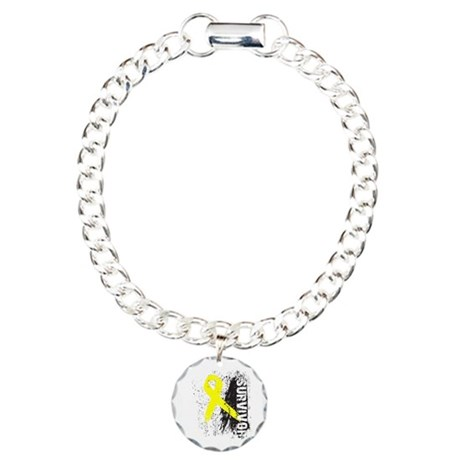 Survivor Bladder Cancer Charm Bracelet, One Charm