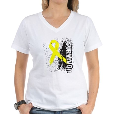 Survivor Bladder Cancer Women's V-Neck T-Shirt