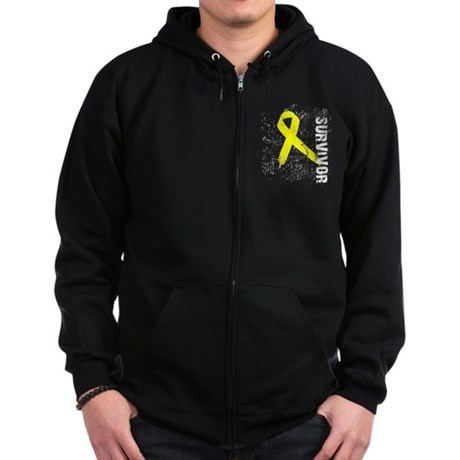 Survivor Bladder Cancer Zip Hoodie (dark)