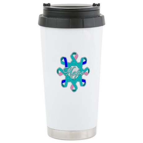 Thyroid Cancer Hope Ribbons Ceramic Travel Mug