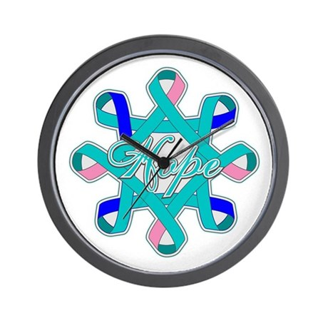 Thyroid Cancer Hope Ribbons Wall Clock