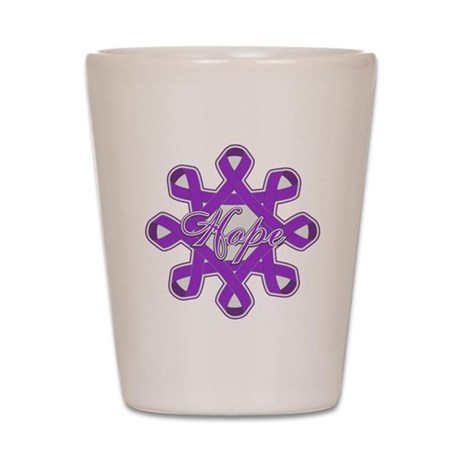 Pancreatic Cancer Ribbons Shot Glass