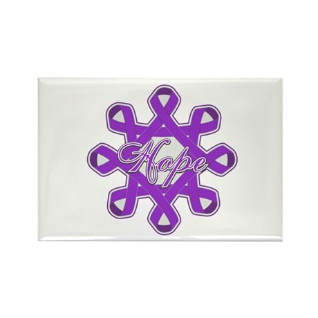 Pancreatic Cancer Ribbons Rectangle Magnet