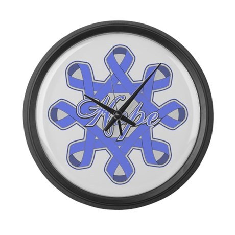 Esophageal Cancer Ribbons Large Wall Clock