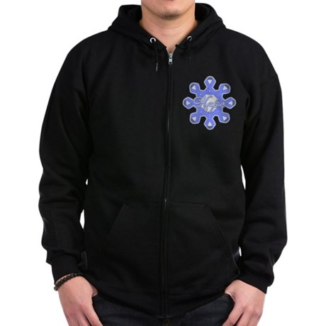 Esophageal Cancer Ribbons Zip Hoodie (dark)