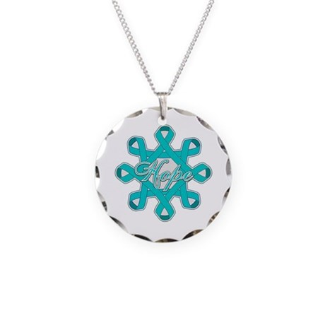 Ovarian Cancer Ribbons Necklace Circle Charm
