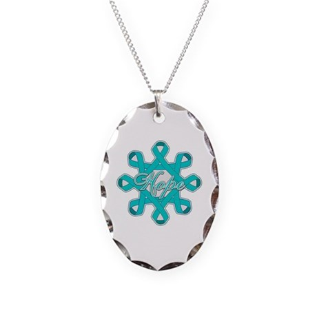 Ovarian Cancer Ribbons Necklace Oval Charm