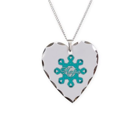 Ovarian Cancer Ribbons Necklace Heart Charm
