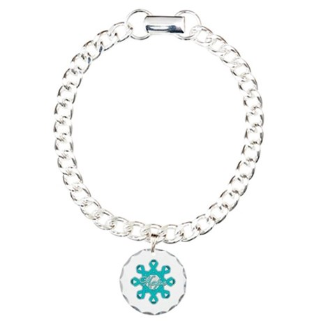 Ovarian Cancer Ribbons Charm Bracelet, One Charm