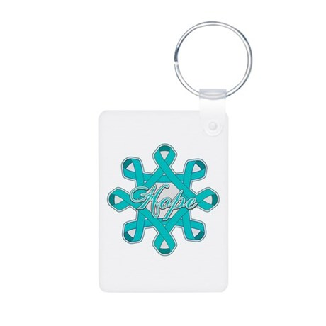 Ovarian Cancer Ribbons Aluminum Photo Keychain