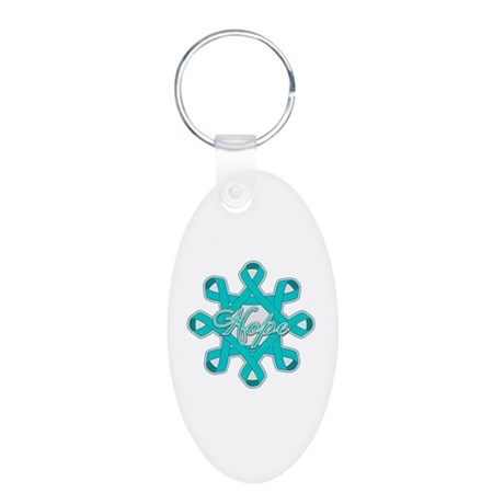Ovarian Cancer Ribbons Aluminum Oval Keychain