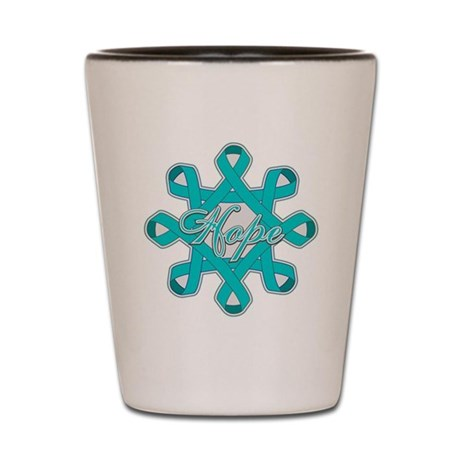 Ovarian Cancer Ribbons Shot Glass