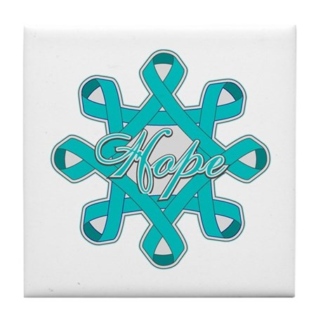 Ovarian Cancer Ribbons Tile Coaster