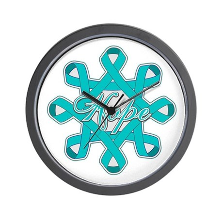 Ovarian Cancer Ribbons Wall Clock